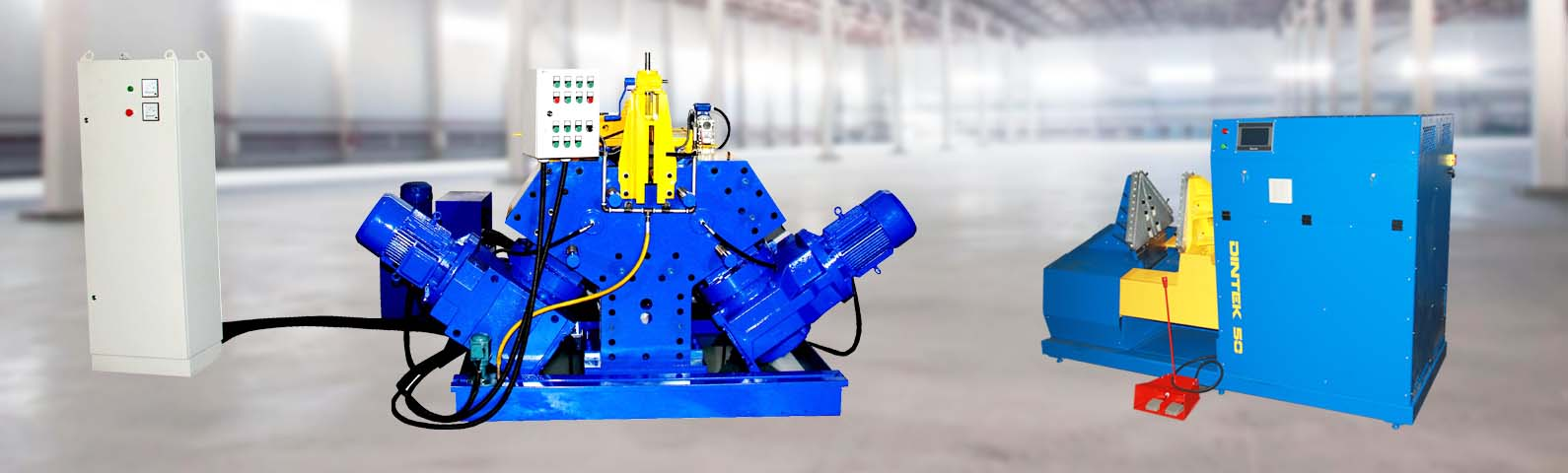 There are 2 machine models having different principles of screw and auger manufacturing available for sale: SG5 (СГ5) and Dintek